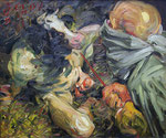 Johannes Grützke: *Theseus trifft den Minotaurus V*, 9.1.2004, Öl/Leinwand, 50 x 60 cm