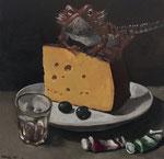 Pavel Feinstein *N 1981* (Echse mit Käse), 2015, Tempera/Hartfaser, 40 x 40 cm