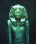 Klaus Ritterbusch: *Amenemhet III (1)*, 1995, Öl/Aluminium, 74 x 60,5 cm