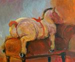 Rudi Hurzlmeier: *Die Ruhe nach dem Abwurf*, Acryl/Leinwand, 120 x 100 cm