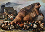 Yongbo Zhao: *Was für das Volk übrigbleibt*, 2015, Öl/Leinwand, 180 x 240 cm