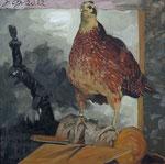 Johannes Grützke: *Es war das Fasanenweibchen (vor der umstürzenden Vendôme-Säule)*, 2012, Öl/Leinwand, 80 x 80 cm