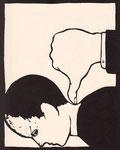 Roland Topor: *A la trappe* (Däumling), 1981, Linolschnitt, 30 x 24,1 cm
