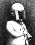 Piotr Kamieniarz: *Der Mann mit Trompete*, 2003, Feder, Tusche/Papier, 47,5 x 35 cm