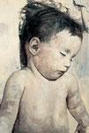 Heike Ruschmeyer: *Monolog CXXXVIII* (Ausschnitt), 2003, Öl/Nessel, 210 x 140 cm