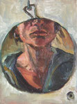 Bettina Moras: *Selbst mit Hals im runden Spiegel*, 2008, Öl/Nessel, 40 x 30 cm