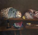 Pavel Feinstein *N 977* (Die sieben Augen), 2003, Öl/Leinwand, 120 x 130 cm