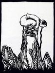 Roland Topor: *C'est la vie*, 1981, Linolschnitt, 50,5 x 32 cm
