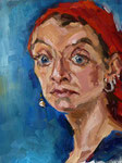 Bettina Moras: *Selbst mit rotem Tuch*, 2010, ÖlLeinwand, 40 x 30 cm