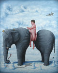 Bruno Pontiroli: *La cour des grands*, 2015, Öl/Leinwand, 200 x 160 cm