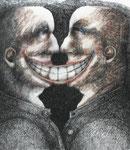 Piotr Kamieniarz: *Das Lächeln I*, 2010, Tusche, Feder, Farbstift/Papier, 34 x 31 cm