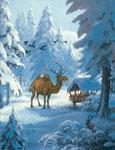 Rudi Hurzlmeier: *Der König des Waldes*, 2010, Acryl/Holz, 30 x 40 cm