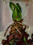 Bettina Moras: *Amaryllisknolle*, 2009, Öl/Nessel, 40 x 30 cm