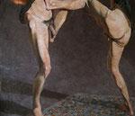 Johannes Grützke: *Die schwarzen Unterröcke*, 1974, Pastell/Papier, 155 x 175 cm