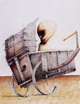 Piotr Kamieniarz: *Der Fahrgast*, 1998, Feder, farbige Tusche/Papier, 55 x 37,5 cm
