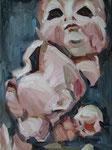 Bettina Moras: *Puppenköpfe*, 2009, Öl/Nessel, 30 x 40 cm