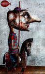 Piotr Kamieniarz: *Don Quijote*, 2015, Acryl/Papier, 48 x 31 cm
