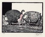 Roland Topor: *Roméo et Juliette*,  Holzschnitt, 44 x 38 cm