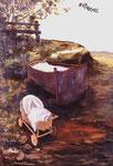 Jürgen Kramer: *Geburt*, 1986, Öl/Leinwand, 140 x 100 cm