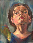 Bettina Moras: *Selbst mit Rose*, 2005, Öl/Nessel, 50 x 40 cm