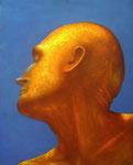 Klaus Ritterbusch: *Selbst im Profil*, 1998, Öl/Aluminium, 74,5 x 61 cm