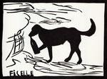Roland Topor: *Ficelle* (Flaschenkind), 1986, Linolschnitt, 28 x 38 cm