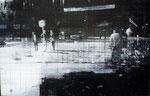 Heike Ruschmeyer: *Schwarz auf Weiß (07) - Oktoberfest - München/26. September 1980*, 2014, Kohle, Kreide, Ölfarbe/MdF, 55 x 86 cm
