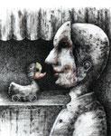 Piotr Kamieniarz: *Wir mit Masken*, 2011, Tusche, Feder, Farbstift/Papier, 27 x 22 cm