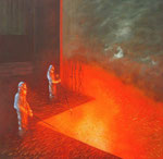 Klaus Ritterbusch: *Ohne Titel 3,* 2003, Mischtechnik/Pressplatte, 51 x 52 cm
