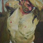Johannes Grützke: *Selbst mit entblößtem Oberkörper*, 2001, Öl/Leinwand, 100 x 100 cm