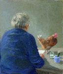 Michael Sowa: *Groß ist die Versuchung, sich mit fremden Federn zu schmücken*, 2008, Acryl/Papier, 21 x 17 cm (Blatt), 10,2 x 8,9 cm (Motiv)