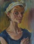 Bettina Moras: *Selbst mit Siegelring*, 2011, Öl/Leinwand, 85 x 65 cm