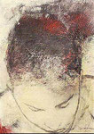 Heike Ruschmeyer: *Monolog CVIII*, 1996, Bleistift, Kohle, Eitempera, Öl / Nessel, Karton, 41,9 x 29,8 cm