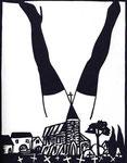 Roland Topor: *Paysage polonais* (Polnische Landschaft), 1984, Linolschnitt, 50 x 33 cm