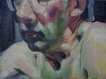 Johannes Grützke: *Selbst bis zur Nasenwurzel*, 9.10.1994, Öl/Leinwand, 30 x 40 cm