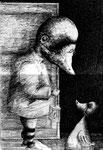 Piotr Kamieniarz: *Die Rückkehr des verlorenen Sohnes*, 2013, Tusche, Feder/Papier, 47 x 31 cm