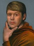 Andreas Leißner: *Selbstporträt*, 2019, Öl/Hartfaserplatte, 40 x 30 cm