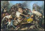 *Mitgefangen - mitgehangen*, 2017, Öl/Leinwand, 160 x 240 cm