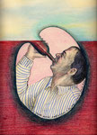 Roland Topor: *Année sabbatique : boire jusqu'à plus soif*, 1985, Farbige Zeichnung, Mischtechnik/Papier, 35 x 25 cm