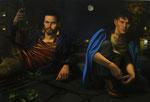 Andreas Leißner: *Warten I*, 2013, Öl/Nessel auf MDF-Platte, 103 x 153 cm