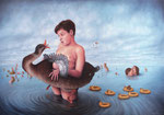 Bruno Pontiroli: *La prise de bec*, 2013, Öl/Leinwand, 81 x 116 cm