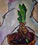 Bettina Moras: *Amaryllisspross*, 2009, Öl/Nessel, 70 x 60 cm