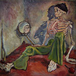 Bettina Moras: *Skelett mit Spiegel*, 2008, Öl/Nessel, 100 x 100 cm