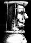 Piotr Kamieniarz: *Im Käfig*, 2015, Tusche, Feder/Papier, 33 x 25 cm