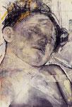 Heike Ruschmeyer: *Monolog CXVIII*, 1996, Kohle, Kunstharz, Eitempera / Ölfarbe, Stoff auf Karton, Collage, 99,5 x 69 cm
