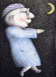Piotr Kamieniarz: *Schlafwanderer*, 2004, Farbige Zeichnung, Tusche/Papier, 40 x 29,3 cm