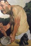 Johannes Grützke: *Ohne Titel* (Mann mit Schale und Skulptur), 29.9.2011, Öl/Leinwand, 140 x 100 cm