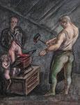 Roland Topor: *Le Porte-Bonheur* (Der Glücksbringer), 1980, Acryl, Feder/Leinwand, 46 x 38 cm
