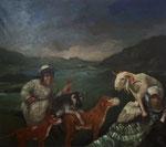 Pavel Feinstein: *N 1031* (Die letzten Tage von Sodom), 2005, Öl/Leinwand, 150 x 170 cm
