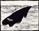Roland Topor: *Caca boudin* (Ölpest), 1975, Linolschnitt, 56,5 x 38,5 cm